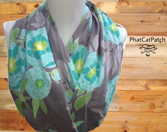 Spring Floral scarf, Infinity Scarf, Gray & Mint Scarf, Floral scarves, Cotton knit Scarf, womens scarf, scarf for mom, Mother's Day gift