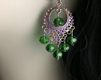 Mardi Gras Earrings Hoop Earrings Bohemian Earrings Purple Green And Gold Earrings Mardi Gras Jewelry Hoop Dangle Earrings