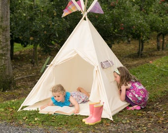 Kids Teepee, Play tent, Wigwam, Childs Tipi. Tent, Play teepee. White tent reading nook for children. All full length poles included!
