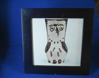 Picasso Framed Print of a 18,500 Dollar Madoura Edition Ceramic Owl Vase Brown Black Chouette marron/noir