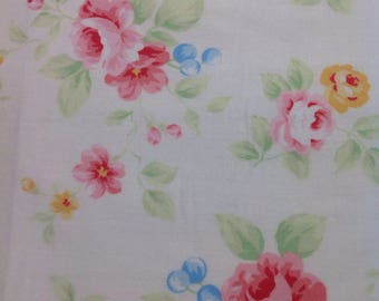 Antique  Flower Collection  In Pastel, by Lecien, Shabby Chic, Cream Fabric with Pink and Yellow Roses  and Blue Berries, Fabric by the Yard