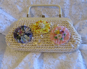 Vintage OOAK White Straw Handbag-Rhinestones Faux Pearls Ceramic Flowers