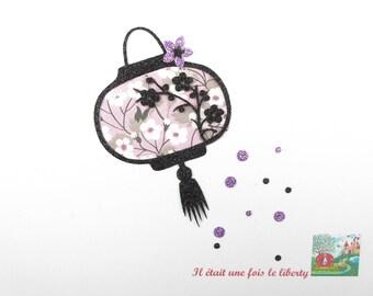 Applied fusible liberty liberty Mitsi purple fabric glitter Thermo pattern Japanese Lantern appliques shield of cherry blossoms