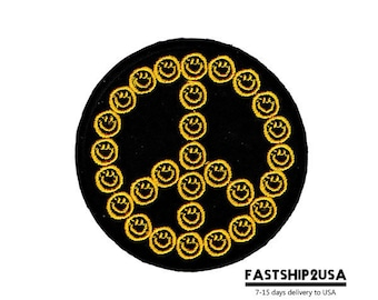 Black Smiley Face Peace Sign Symbol Embroidered Iron On Patch Heat Seal Applique Sew On Patches