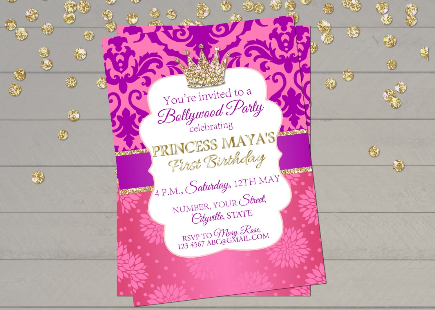 Bollywood invitation Indian princess birthday invitation