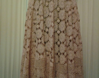 Vintage Dusty Pink Lace Skirt