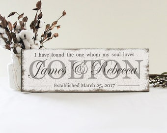 I Have Found The One Whom My Soul Loves Personalized Wedding Sign, Wedding Wall Decor, Family Name Sign