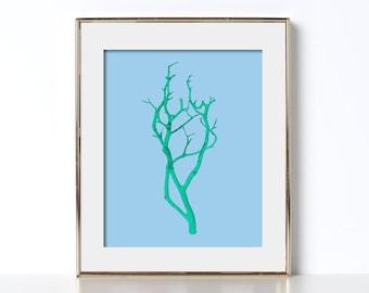 Mint Branch Art Digital Download Manzanita Tree Branches Japanese Design Cabin Decor Trendy Design Colorful Tree Art Minimal Poster Country