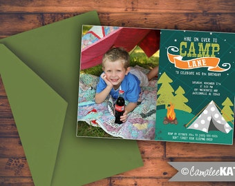Camping birthday invitations - boys party theme Wilderness Campout Bonfire - With or Without photo - personalized for you!
