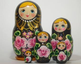 Russian nesting doll, hand painted black doll with pink flowers, original painting, matryoshka doll, gift for mom, babushka dolls
