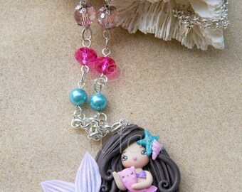 Princess Mermaid Brunette with Merkitty mom's or girl's Clay Necklace OOAK