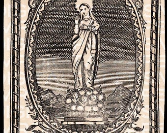 Antique Virgin Mary / Madonna / Engraving c1750 / 9 x 13 Digital Paper Download / Scrapbooking Supplies / Instant Download / High Resolution