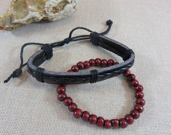 Mens bracelet, Bracelet set, punk bracelet, bracelet leather, bracelet beads, men, gifts for him, leather cord jewelry