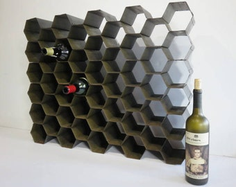 Mid Century Modern Galvanized Steel Metal Honeycomb Wine Rack.
