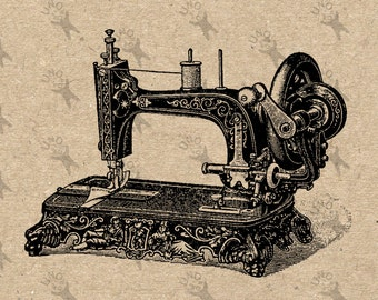 Antique Sewing Machine image Sewing Machine Instant Download printable Vintage black clipart digital transfer paper burlap fabric HQ300dpi