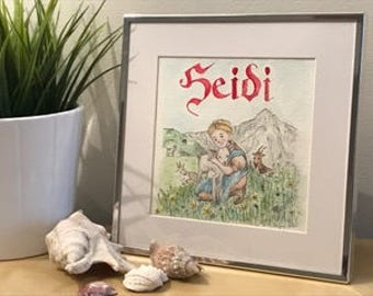 Heidi - Framed original illustration