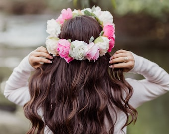 Avant Garde Floral Crown with Pink and White Elaborate Peonies