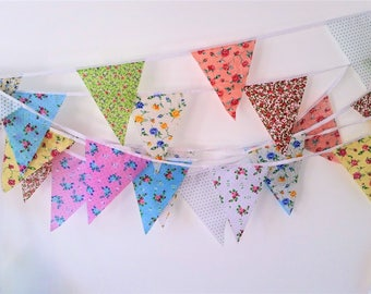 Clearance Bunting 120 ft/36metres shabby chic style fabric bunting, Weddings, Tea Parties , Baby shower, 120cl
