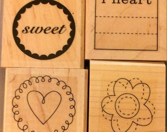 Stampin Up SWEET ON YOU 2006 Retired Set of 4 wood mounted stamps sweet I heart flower journal
