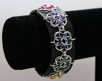 Chainmaille Cuff Bracelet, Black Leather Cuff, Chainmaille Bracelet, Cuff Bracelet, Rainbow Flowers, Leather Cuff, Medium/Large