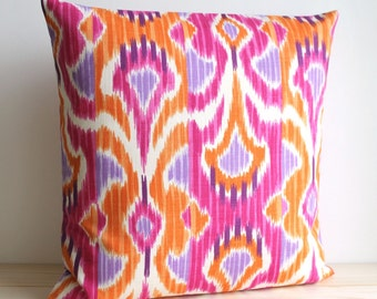 Orange and Pink Ikat Pillow Cover, 14x14, 16x16, 18x18, Ikat Cushion Cover - Ikat Wave Tangerine