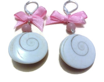 """Earring """"eye of Saint Lucia with Opal bead and a small knot in bright pink satin"""""""