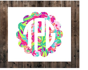 Monogram Yeti Decal, Yeti Decal for Women, Monogram Decal, Monogram Decal, Yeti Monogram Decal, Lilly Cup Decal, Car Decal, S'well Decal