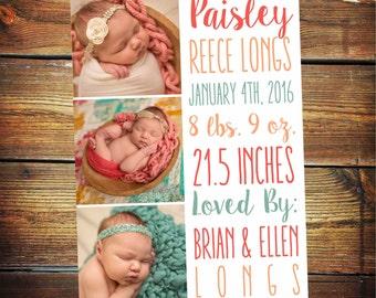 Baby Girl Birth Announcement, Newborn Baby Birth Announcement, Baby Announcement, Birth Announcement Girl, Modern Announcement, Photo Card