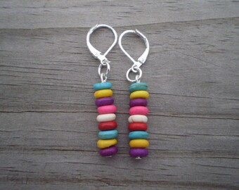 Dyed Multicolor Turquoise Howlite Rondelle Dangle Earrings