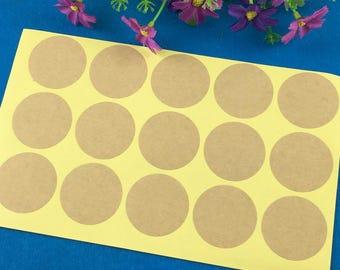 """15 """"Round"""" 3.5 cm Kraft stickers"""