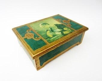 Vintage musical wood JEWEL BOX⎮women reading illustrated⎮green golden decor⎮mid century modern