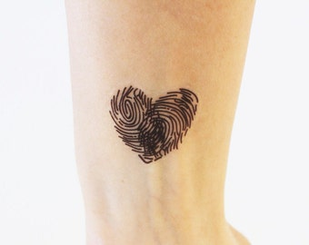 2 heart made with fingerprints temporary tattoos / heart temporary tattoo / fingerprint tattoo / lover's gift tattoo / wedding tattoo