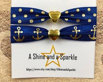 Navy and Gold Heart Hair Ties, Navy Hair Ties Bracelets, Pair of Pony Tail Holders, Bridesmaids Gifts, Ponytail tie, Elastic Hair Ties