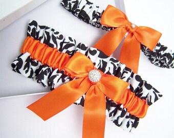 Black And White Damask Garter Set/Damask Garters/Black and White Garters/Damask and Orange/Orange Garters