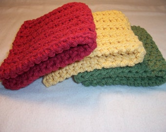 "Set of 3 Handmade Crocheted Dish/Wash Cloths - Crochet Dish Cloths - Crochet Wash Cloths - Bath Wash Cloths  - 100% Cotton - 7"" x 7"""