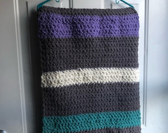 Striped Baby Blanket- Grey, Teal, Purple