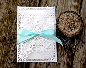 Laser Cut Snowflake and Glitter - FROSTY FLURRIES - *Sample* Shimmery White Folder with Silver Glitter Winter Wedding Invitation Snow