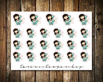 Relax - Cute Brunette Girl - Functional Character Stickers
