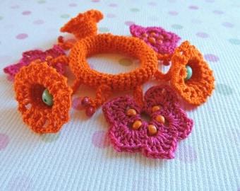 Crochet hair accessories pattern. Crochet hair ties. Crochet headband
