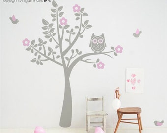 Children Wall Decal - Bird Tree Decal - Owl Tree Wall Art for Baby Nursery - 0039