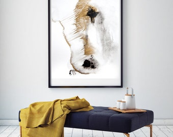 Abstract acrylic painting fine art print in gold and black SP No.15 / download file /.