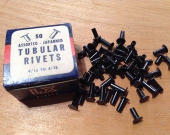 Vintage Rivets, 50 Assorted Rivets, Japanned Tubular Rivets, Salvaged Hardware, Restoration Hardware, Steampunk, Assemblage Craft Supply