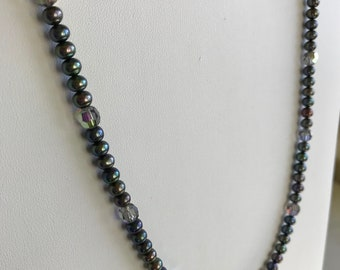 Gray Freshwater Pearl and Swarovski Necklace
