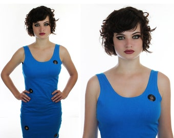 90s Spandex Dress Vintage Bandage 90s Blue Bodycon With Metal Rivet Cut Out Holes Detail S M Small Medium