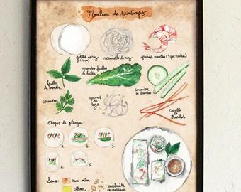 "Recipe illustration - Illustrated recipe - Kitchen Wall decor - Food art - botanical - vegan - Kitchen art - ""Vietnamese Spring Roll"""