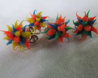Wild and Crazy 2 pr Punk Fluorescent Earrings Water Droplets Stud Earrings Spike Jewelry Rave psychedelic jewelry 90s Earrings