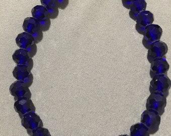 Cobalt Blue and Medium Blue Glass Crystal Bracelet