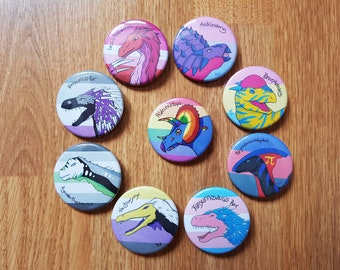 "LGBT+ Dinosaur 1 3/4"" Button(s)"