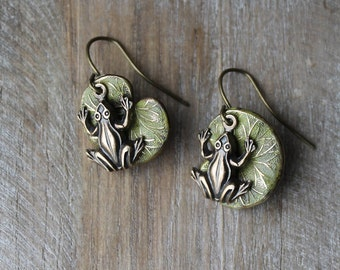 Frog on lily pad patina dangle earrings