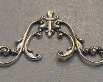 LuxeOrnaments Oxidized Sterling Silver Plated Filigree Art Nouveau Style Connector 40x22mm (1 pc) F-A14037-S